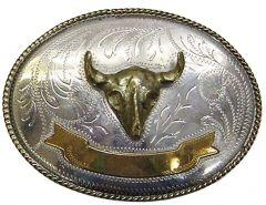 Modestone Men's Trophy Belt Buckle Bull Head Filigree O/S Silver