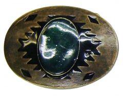 Modestone Men's Jade-Like Stone Western Style Belt Buckle O/S Silver