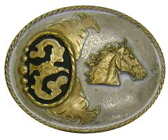 Modestone Men's Horse Head Western Pattern Trophy Belt Buckle O/S Silver