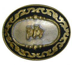 Modestone Men's Trophy Belt Buckle Double Horse Head Filigree O/S Silver