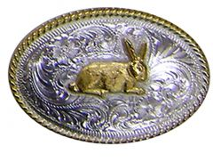 Modestone Men's Wild Hare Filigree Nickel Silver Belt Buckle O/S Silver