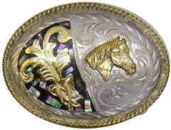 Modestone Men's Mother Of Pearl Inlay Horse Head Filigree Belt Buckle O/S Silver