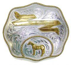 Modestone Men's Standing Horse Head Trophy Belt Buckle Filigree O/S Silver