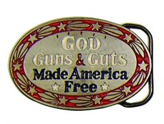 Modestone Men's God Guns & Guts Made America Free Western Belt Buckle O/S Silver