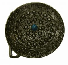 Modestone Metal Alloy Blue Stone In Center Buckle O/S Bronze