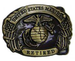 Modestone United States Marines Retired Flag Eagle Submarine Globe Buckle Gold