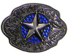 Modestone Metal Alloy Saphire-Like Stones Texas Sheriff Star Buckle O/S Silver