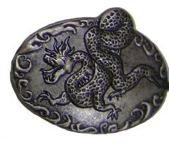 Modestone Metal Alloy Chinese Dragon Buckle O/S Silver