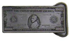 Modestone Metal Alloy American 1000 Dollar Bill Buckle O/S Silver