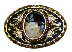 Modestone Texas Rose Porcelain Center Piece Black Yellow Buckle O/S Gold