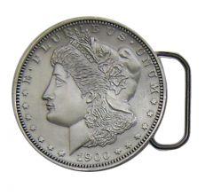Modestone E Pluribus Unum 1900 George Morgan Silver Dollar Pewter Buckle Silver