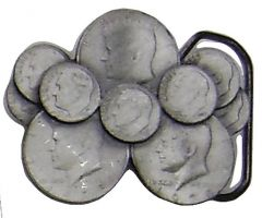 Modestone Metal Alloy American Coins Jfk Quarters & Fdr Dimes Buckle
