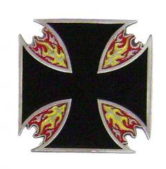 Modestone Men's Flaming Iron Cross Buckle O/S Black