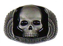 Modestone Men's Wild & Free Skull Wings Buckle O/S Silver