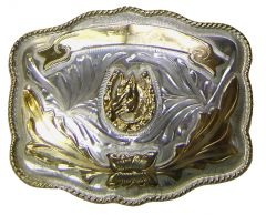 Modestone Men's Horse HorseshoeTrophy Buckle Nickel Silver O/S