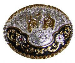 Modestone Men's 3 Horse Heads Filigree Ruby-Like Stones Nickel Silver O/S Silver
