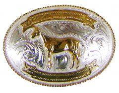 Modestone Men's Horse Filigree 2X Banners Engraving Nickel Silver O/S Silver