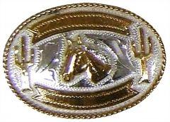 Modestone Men's Horse Head Cactus Engraving Banners Nickel Silver O/S Silver