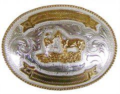 Modestone Men's Cowboy Horse Engraving Banners Nickel Silver O/S Silver