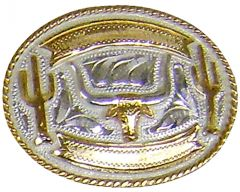 Modestone Men's Longhorn Bull Head Cactus Engraving Banners Nickel Silver O/S Silver