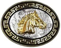 Modestone Nickel Silver Charro Belt Buckle Horse Head 4 1/4'' X 3 1/4''