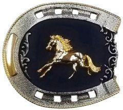 Modestone Metal Alloy Belt Buckle Horseshoe Galloping Horse 3 1/4'' x 3''