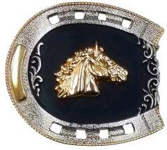 Modestone Metal Alloy Belt Buckle Horseshoe Horse Head 3 1/4'' x 3''