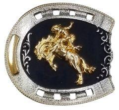 Modestone Metal Alloy Belt Buckle Horseshoe Bronco Busting Cowboy 3 1/4'' x 3''