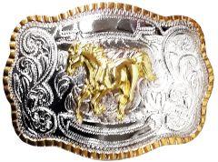 Modestone Metal Alloy Trophy Belt Buckle Galloping Horse 5 1/2'' X 3 3/4''