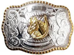 Modestone Metal Alloy Trophy Belt Buckle Horse Horseshoe 5 1/2'' X 3 3/4''