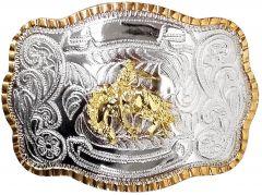 Modestone Metal Alloy Trophy Belt Buckle Bronco Busting Cowboy 5 1/2'' X 3 3/4''