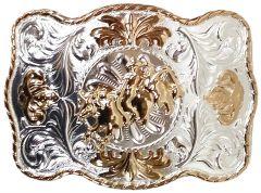 Modestone Metal Alloy Trophy Belt Buckle Bull Rider 4 1/2'' X 3