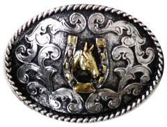 Modestone Trophy Belt Buckle Horse Horseshoe 4 1/4'' X 3 1/4'' Black