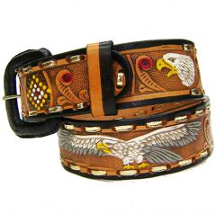 Modestone Men's Hand Painted Embossed Eagle Leather Belt 1.5'' Width Tan (32, Tan)
