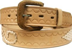 Modestone Diamond & Filigree Braid Leather Belt 1.5'' Width Beige