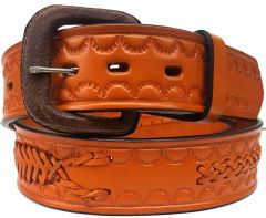 Modestone Single & Scorpion Braid Leather Belt 1.5'' Width Orange