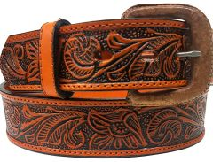 Modestone Embossed Floral Western Leather Belt 1.5'' Width Orange