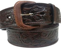 Modestone Embossed Floral Western Leather Belt 1.5'' Width Brown