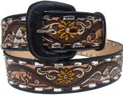 Modestone Hand Painted Eagle Horse Laced Western Leather Belt 1.5'' Width