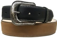 Modestone Western Filigree Buckle 2Tone Leather Belt 1.5'' Width Khaki