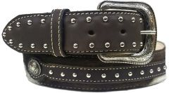 Modestone Metal Buckle Studs Hair On Cowhide Leather Belt 1.5'' Width Brown