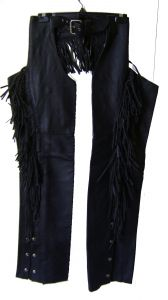 "Modestone Women's Leather Chaps Fringes Mid thigh 19"" Black"