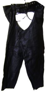 "Modestone Men's Leather Chaps & Waist Extension Mid Thigh = 23"" Black"
