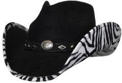Modestone ''Faux Felt'' Cowboy Hat Zebra Under Brim Concho Hatband Black