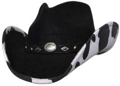 Modestone Kids ''Faux Felt'' Cowboy Hat Cow Under Brim Concho Hatband Black