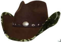 Modestone ''Faux Felt'' Cowboy Hat Camo Under Brim Concho Hatband Brown