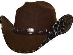 Modestone ''Faux Felt'' Cowboy Hat Leopard Under Brim Concho Hatband Brown
