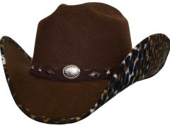 Modestone Kids ''Faux Felt'' Cowboy Hat Leopard Under Brim Concho Hatband