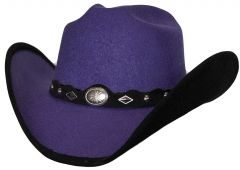 Modestone Kids ''Faux Felt'' Cowboy Hat Black Under Brim Concho Hatband