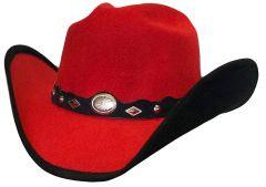 Modestone ''Faux Felt'' Cowboy Hat Black Under Brim Concho Hatband Red